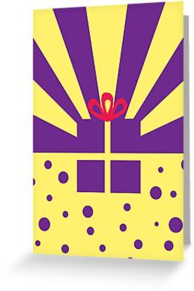 Sunburst Pressie birthday card by rperrydesign