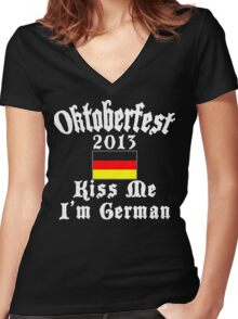 Oktoberfest 2013 Kiss Me I'm German Women's Fitted V-Neck T-Shirt