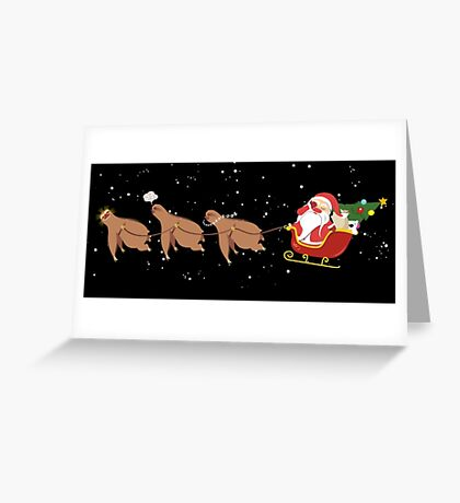 Funny sloth reindeer Santa face palm Christmas scene Greeting Card