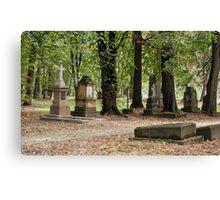 Cemetery in autumn. Canvas Print