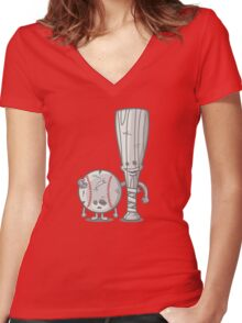 Bat-tered Women's Fitted V-Neck T-Shirt
