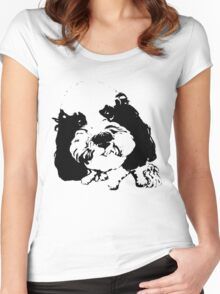 Little Boss Dog Graphic ~ black  Women's Fitted Scoop T-Shirt