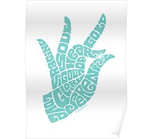 heart in hand in soft seafoam teal Poster