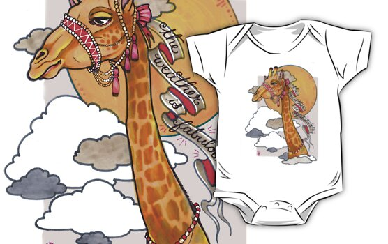 How's the weather up there? - tall giraffe shirt by resonanteye