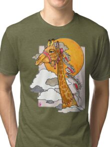 How's the weather up there? - tall giraffe shirt Tri-blend T-Shirt