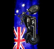 Australian Downunder Flag, Motorcycle Biker Design by Val  Brackenridge