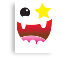 Crazy happy maniac face with stars and teeth  Canvas Print