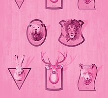 Hunting Series - Different Pink Animal Head Pattern by thejoyker1986