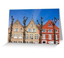 Traditional old Belgium House Facades in Bruges Greeting Card