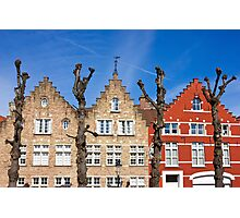 Traditional old Belgium House Facades in Bruges Photographic Print