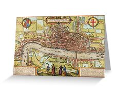 Londom Map 1572 Greeting Card