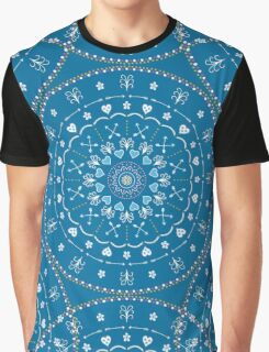 Blue White Mandalas Graphic T-Shirt
