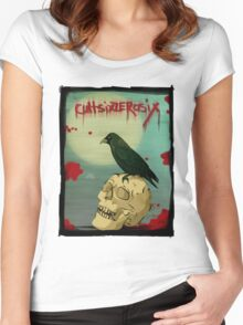 Crow, Skull, Blood Women's Fitted Scoop T-Shirt