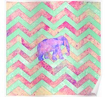 Whimsical Purple Elephant Mint Green Pink Chevron Poster