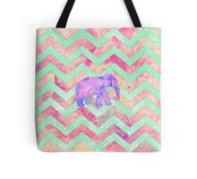 Whimsical Purple Elephant Mint Green Pink Chevron Tote Bag
