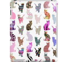 Girly Whimsical Cats aztec floral stripes pattern iPad Case/Skin