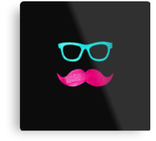 Funny Pink mustache teal hipster glasses Black  Metal Print