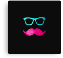 Funny Pink mustache teal hipster glasses Black  Canvas Print