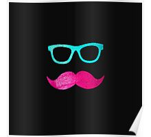 Funny Pink mustache teal hipster glasses Black  Poster