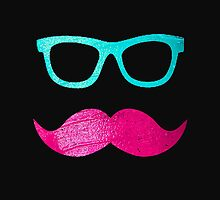 Funny Pink mustache teal hipster glasses Black  by GirlyTrend