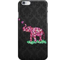 Retro Flower Elephant Pink Sakura Black Damask iPhone Case/Skin