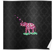 Retro Flower Elephant Pink Sakura Black Damask Poster