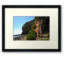Sexy bikini on location of CA coastline  Framed Print