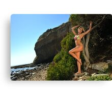 Sexy bikini on location of CA coastline  Canvas Print