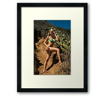 Bikini model posing in front of kaktus field in Palos Verdes, CA Framed Print