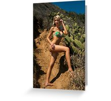 Bikini model posing in front of kaktus field in Palos Verdes, CA Greeting Card