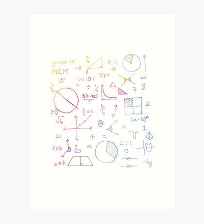 Math formulae (white) Art Print