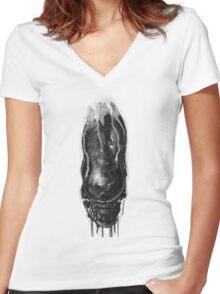 Alien Xenomorph Warrior 1 Women's Fitted V-Neck T-Shirt