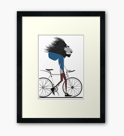 Hipster Lion and his Bicycle Framed Print