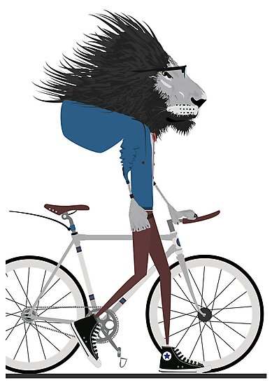Hipster Lion and his Bicycle by Wyattdesign