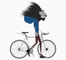 Hipster Lion and his Bicycle One Piece - Short Sleeve