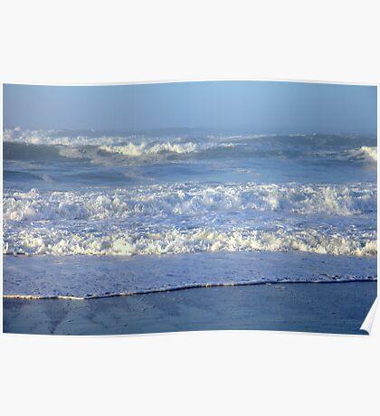 Atlantic ocean early morning waves Poster