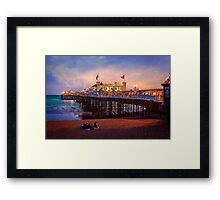 Brighton's Palace Pier at Dusk Framed Print