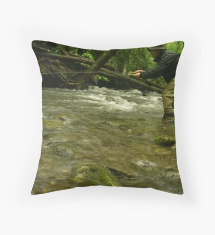 Rainy Day Fly Fishing Throw Pillow