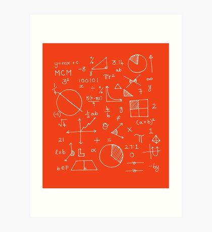 Math formulae (red) Art Print