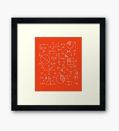 Math formulae (red) Framed Print
