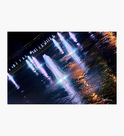 Manchester's Neon Fountains Photographic Print