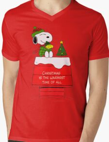 Best Friend Peanuts Snoopy and Woodstock Mens V-Neck T-Shirt