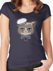 Stay Grumpy The Marshmallow Cat Women's Fitted Scoop T-Shirt