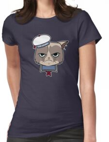 Stay Grumpy The Marshmallow Cat Womens Fitted T-Shirt