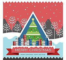 Christmas tree and city Photographic Print