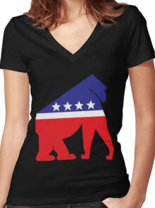 Gorilla Party! Women's Fitted V-Neck T-Shirt