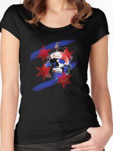 Chicago Skull Flag Women's Fitted Scoop T-Shirt