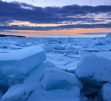 Sunset on the Frozen Straits of Mackinac by DArthurBrown