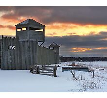 Winter Sunset on Fort Michilimackinac Photographic Print