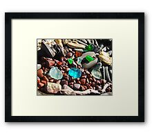 Seaglass Art Prints Coastal Beach Rocks Framed Print